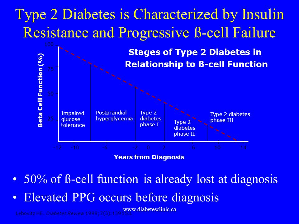 www.diabetesclinic.ca Type 2 Diabetes is Characterized by Insulin Resistance and Progressive ß-cell Failure 50% of ß-cell function is already lost at