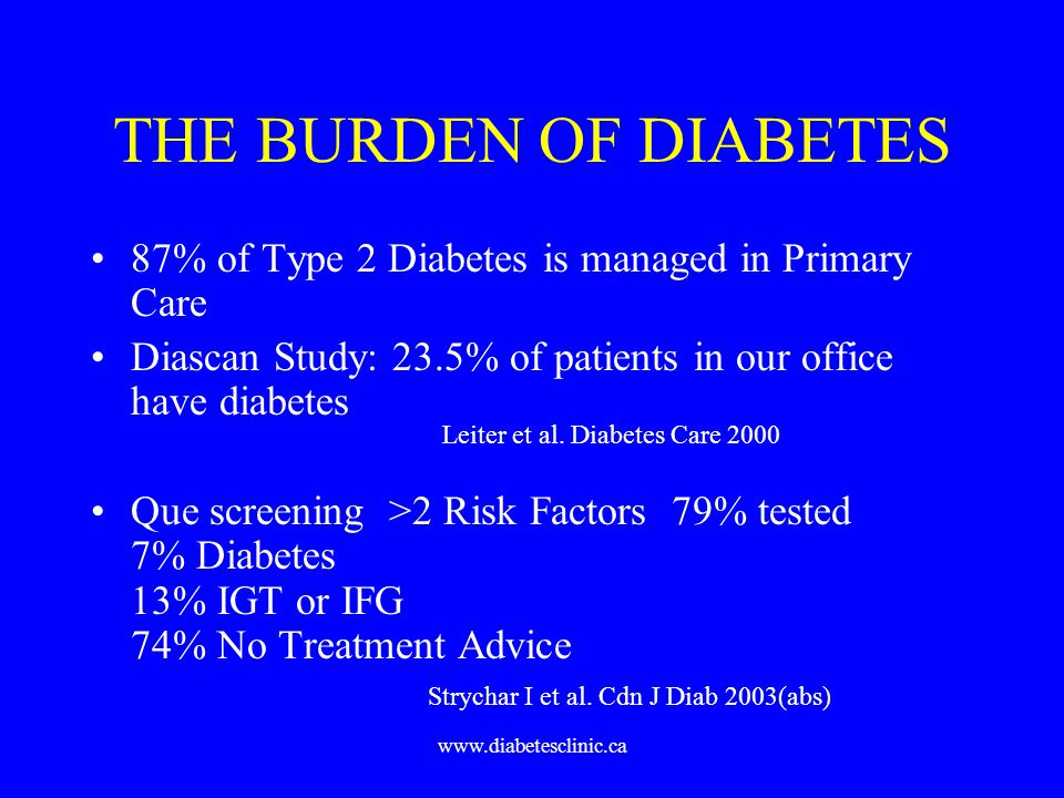 www.diabetesclinic.ca THE BURDEN OF DIABETES 87% of Type 2 Diabetes is managed in Primary Care Diascan Study: 23.5% of patients in our office have dia