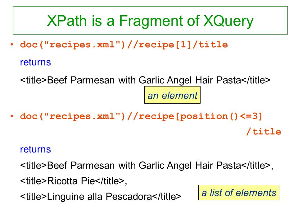 XPath is a Fragment of XQuery doc( recipes.xml )//recipe[1]/title returns Beef Parmesan with Garlic Angel Hair Pasta doc( recipes.xml )//recipe[position()<=3] /title returns Beef Parmesan with Garlic Angel Hair Pasta, Ricotta Pie, Linguine alla Pescadora an element a list of elements