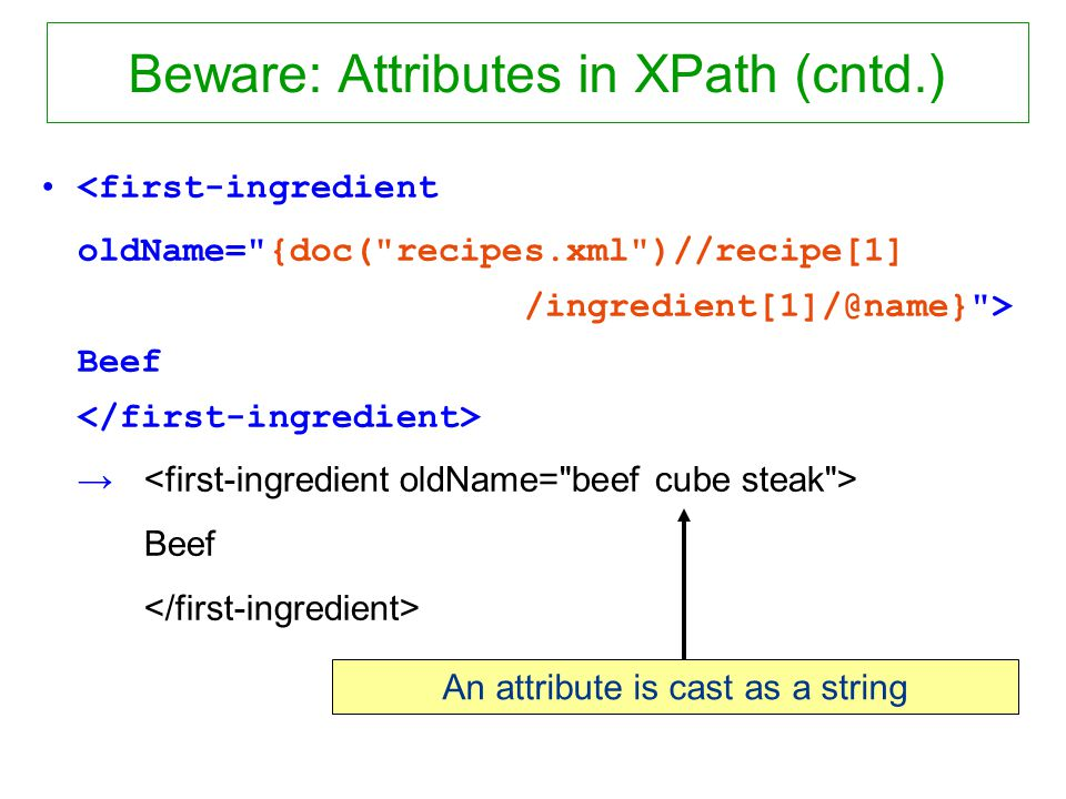 Beware: Attributes in XPath (cntd.) <first-ingredient oldName= {doc( recipes.xml )//recipe[1] /ingredient[1]/@name} > Beef Beef An attribute is cast as a string
