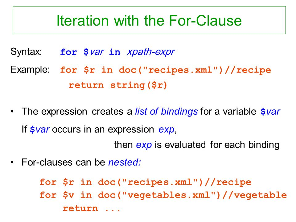 Iteration with the For-Clause Syntax: for $ var in xpath-expr Example: for $r in doc(