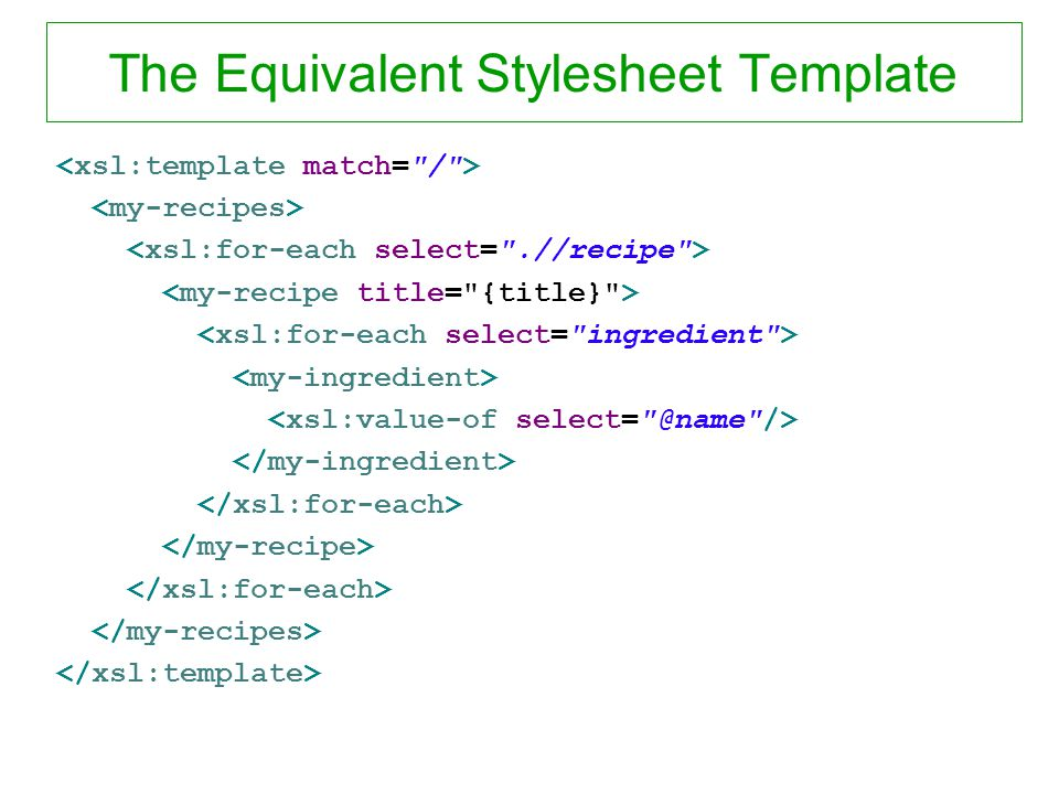 The Equivalent Stylesheet Template