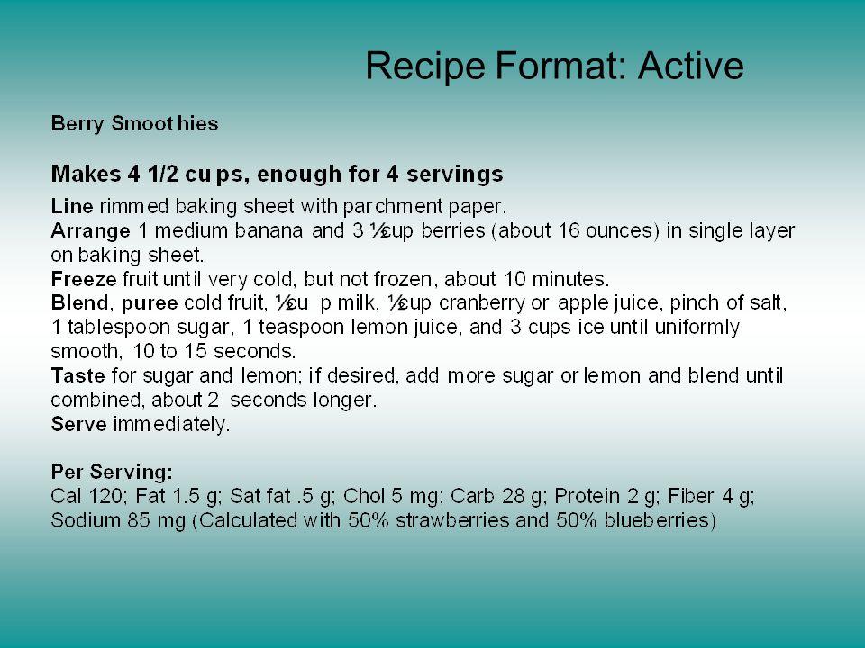 Recipe Format: Active
