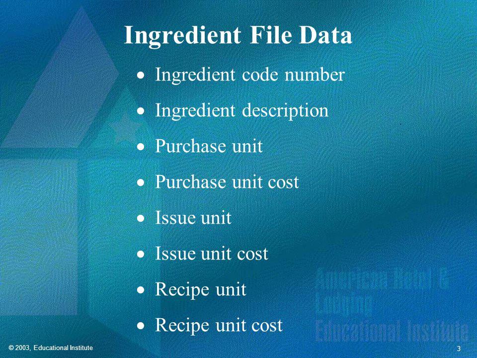 © 2003, Educational Institute 3 Ingredient File Data Ingredient code number Ingredient description Purchase unit Purchase unit cost Issue unit Issue unit cost Recipe unit Recipe unit cost