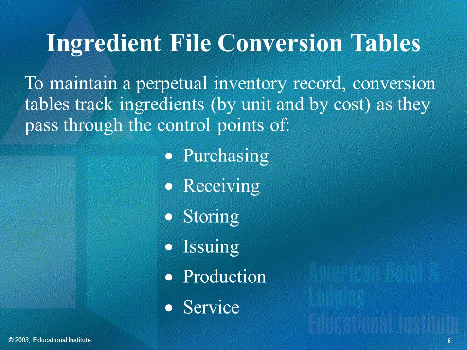 © 2003, Educational Institute 6 Ingredient File Conversion Tables To maintain a perpetual inventory record, conversion tables track ingredients (by unit and by cost) as they pass through the control points of: Purchasing Receiving Storing Issuing Production Service