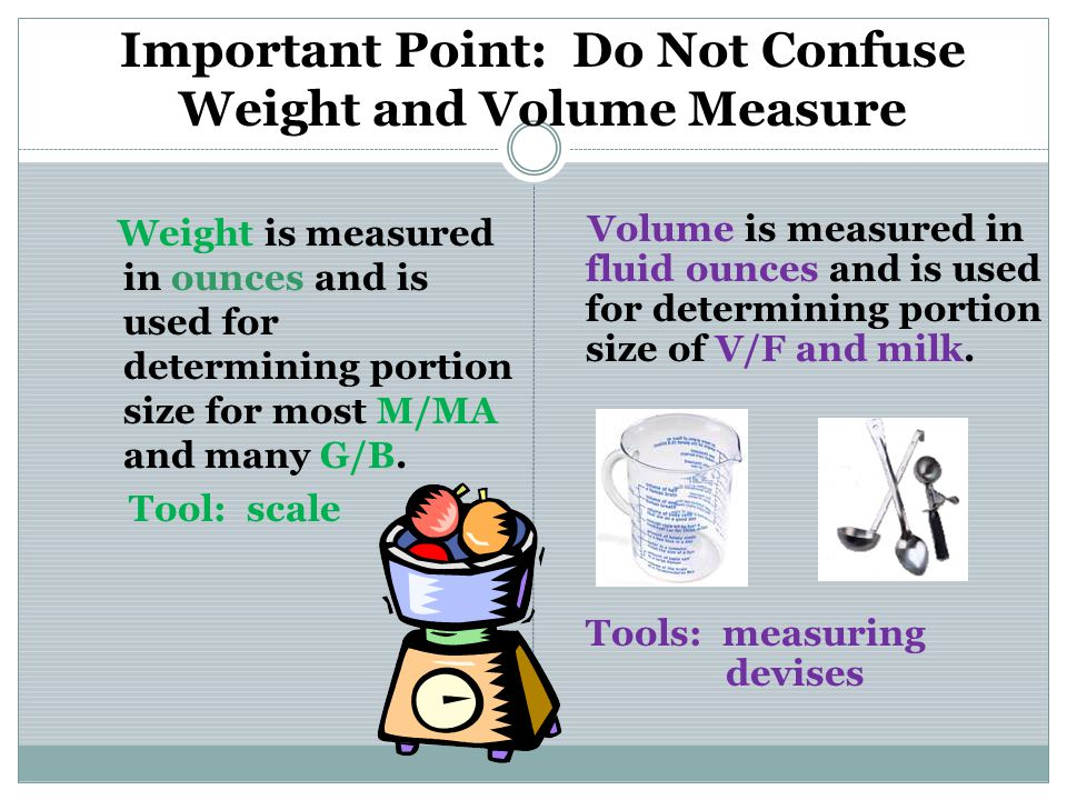 Important Point: Do Not Confuse Weight and Volume Measure Weight is measured in ounces and is used for determining portion size for most M/MA and many G/B.