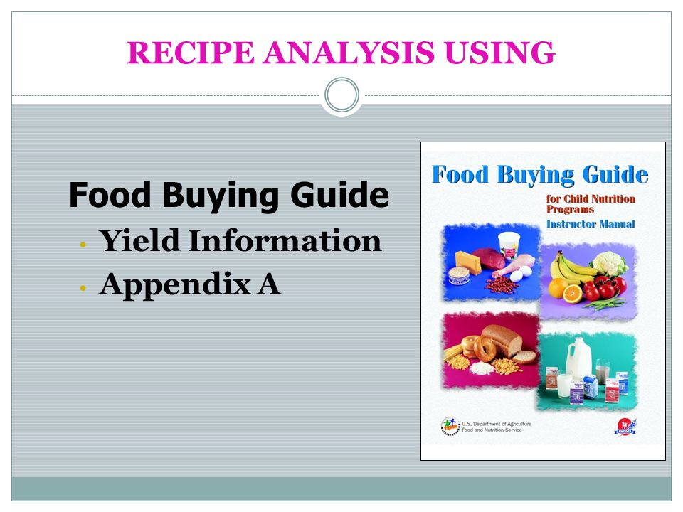 RECIPE ANALYSIS USING Food Buying Guide Yield Information Appendix A
