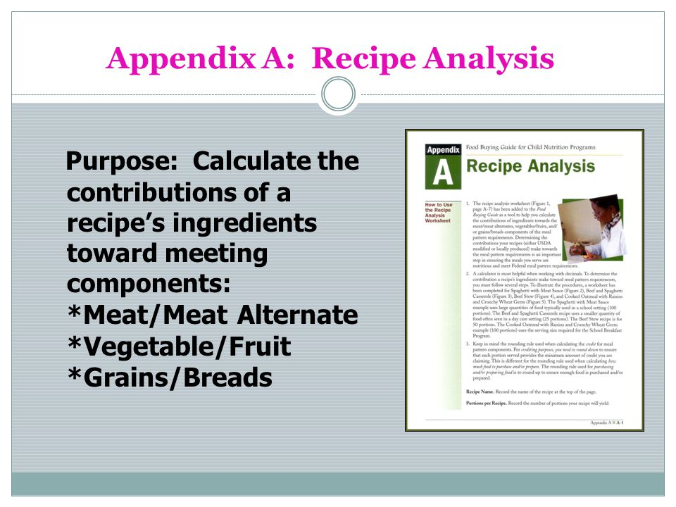 Appendix A: Recipe Analysis Purpose: Calculate the contributions of a recipes ingredients toward meeting components: * Meat/Meat Alternate *Vegetable/Fruit *Grains/Breads