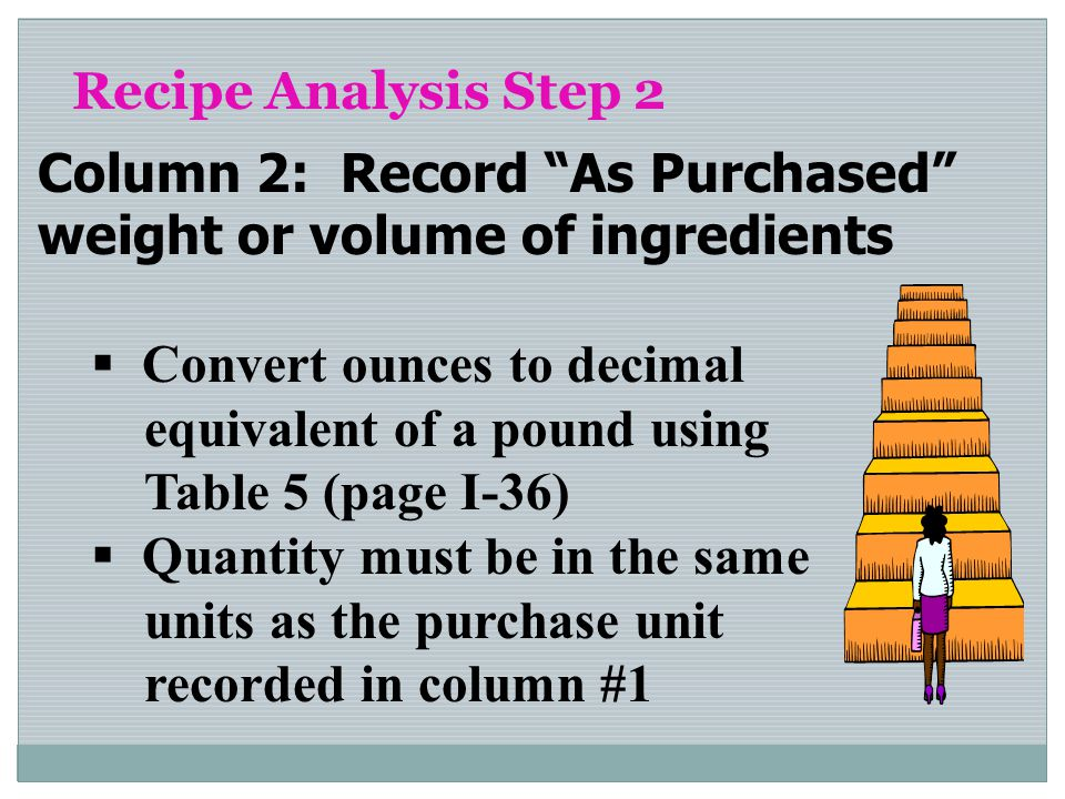 Recipe Analysis Step 2 Column 2: Record As Purchased weight or volume of ingredients Convert ounces to decimal equivalent of a pound using Table 5 (pa