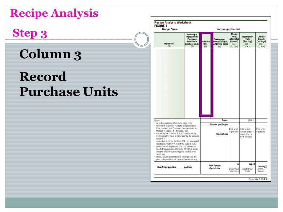 Column 3 Record Purchase Units Recipe Analysis Step 3