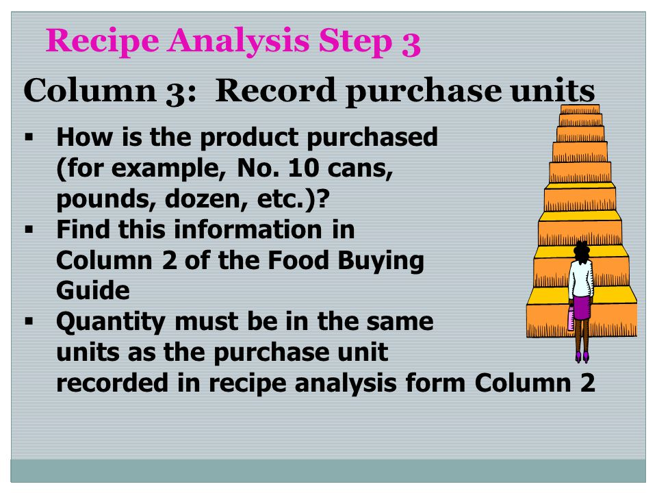 Recipe Analysis Step 3 Column 3: Record purchase units How is the product purchased (for example, No. 10 cans, pounds, dozen, etc.)? Find this informa