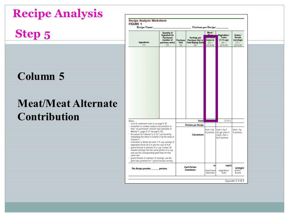 Recipe Analysis Step 5 Column 5 Meat/Meat Alternate Contribution