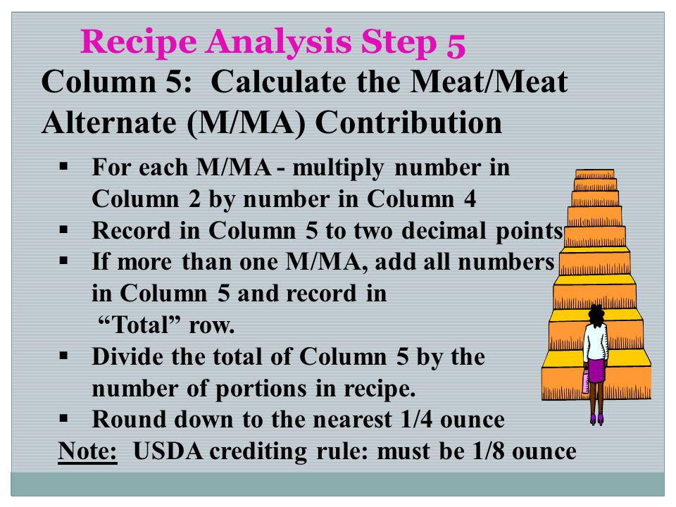 Recipe Analysis Step 5 Column 5: Calculate the Meat/Meat Alternate (M/MA) Contribution For each M/MA - multiply number in Column 2 by number in Column
