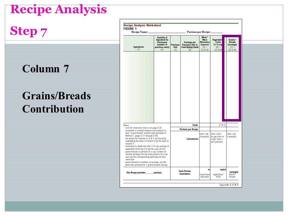 Recipe Analysis Step 7 Column 7 Grains/Breads Contribution