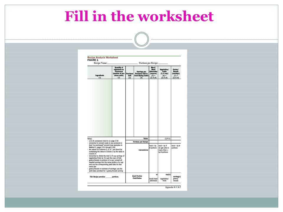 Fill in the worksheet