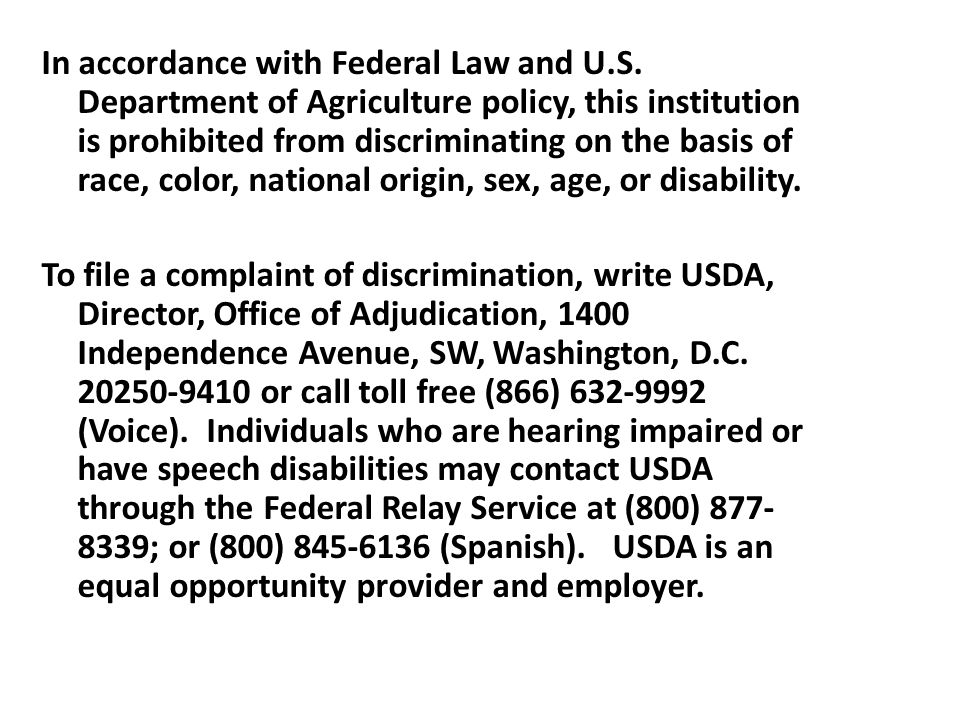 In accordance with Federal Law and U.S.