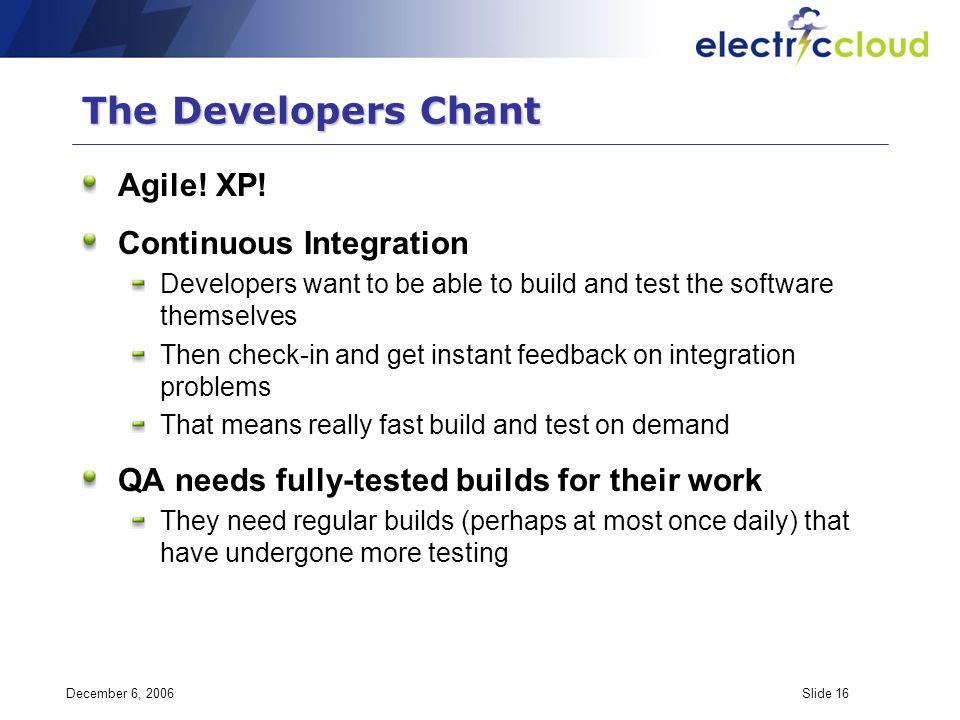 December 6, 2006Slide 16 The Developers Chant Agile.