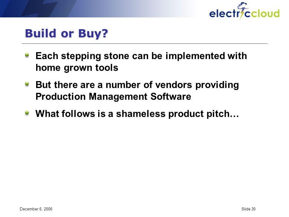 December 6, 2006Slide 30 Build or Buy.