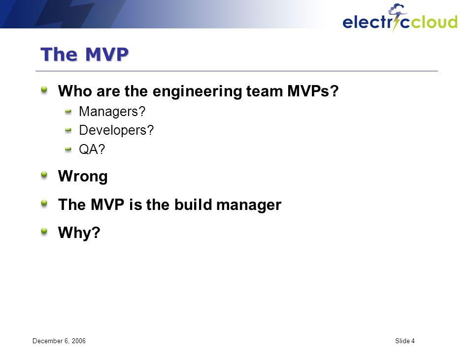 December 6, 2006Slide 4 The MVP Who are the engineering team MVPs.