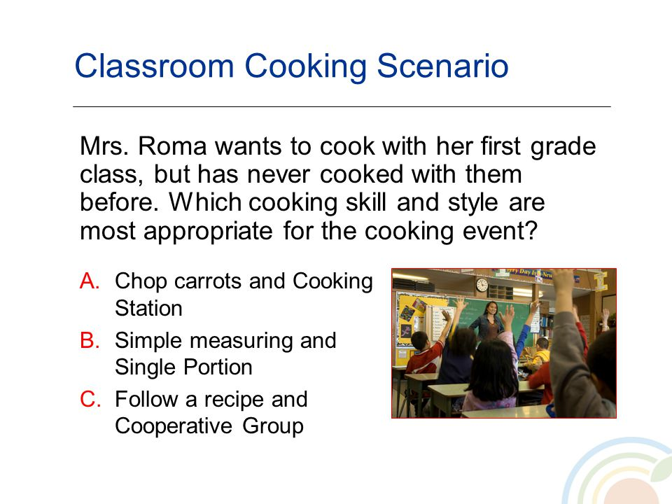 Classroom Cooking Scenario A.Chop carrots and Cooking Station B.Simple measuring and Single Portion C.Follow a recipe and Cooperative Group Mrs. Roma