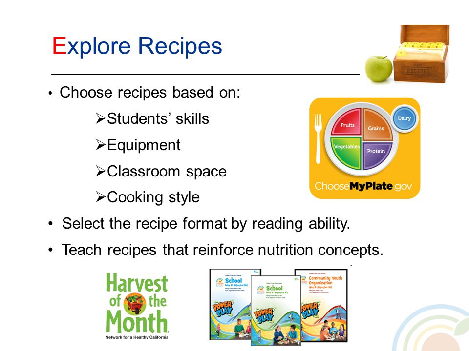 Explore Recipes Choose recipes based on: Students skills Equipment Classroom space Cooking style Select the recipe format by reading ability. Teach re