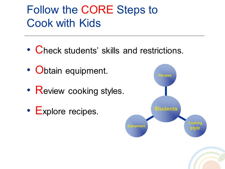 Follow the CORE Steps to Cook with Kids C heck students skills and restrictions. O btain equipment. R eview cooking styles. E xplore recipes. Students