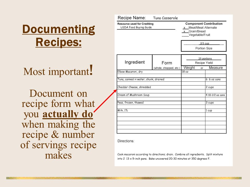 Documenting Recipes: Most important ! Document on recipe form what you actually do when making the recipe & number of servings recipe makes