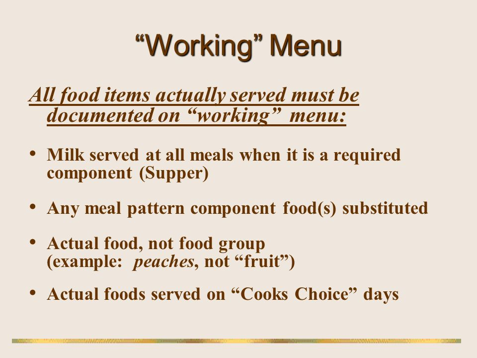 Food Crediting Standard Reference Tool Sponsors use to document creditable servings sizes in recipes, purchased foods.