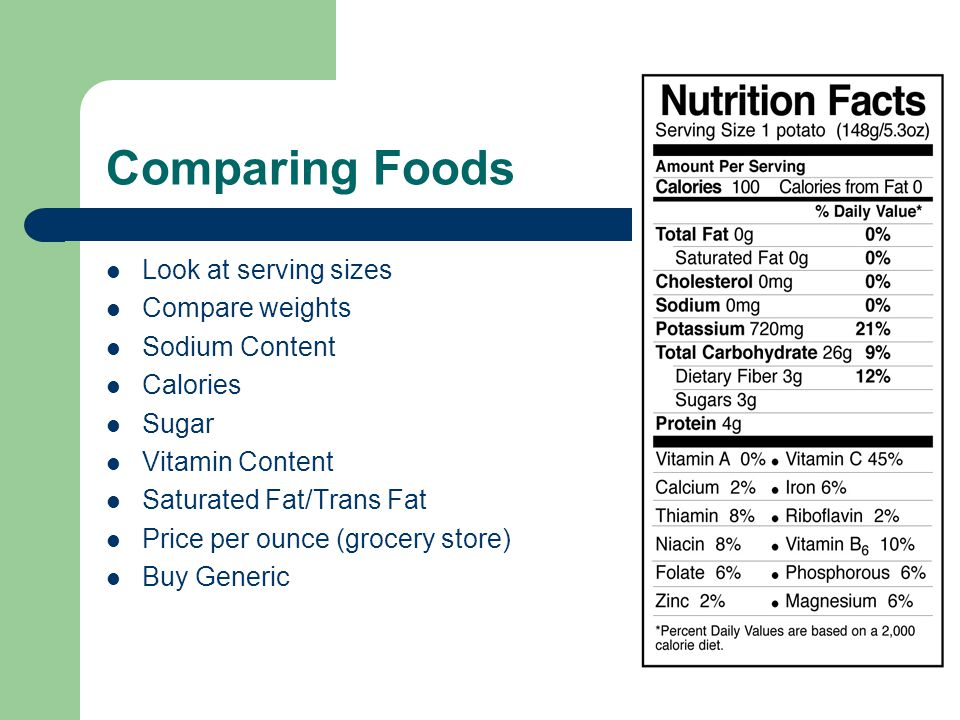 Comparing Foods Look at serving sizes Compare weights Sodium Content Calories Sugar Vitamin Content Saturated Fat/Trans Fat Price per ounce (grocery store) Buy Generic