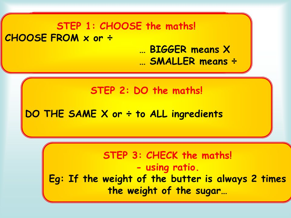 RECAP 3 Steps for Scaling STEP 1: CHOOSE the maths! CHOOSE FROM x or ÷ … BIGGER means X … SMALLER means ÷ STEP 2: DO the maths! DO THE SAME X or ÷ to