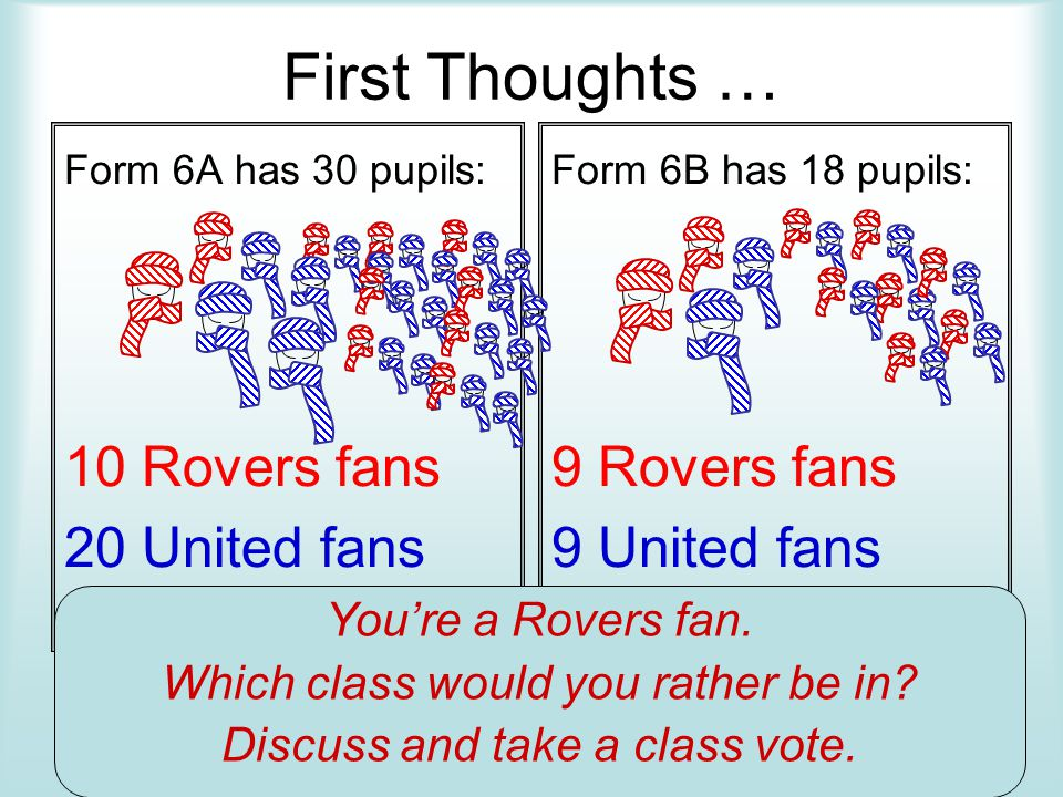 First Thoughts … Form 6A has 30 pupils: 10 Rovers fans 20 United fans Form 6B has 18 pupils: 9 Rovers fans 9 United fans Youre a Rovers fan. Which cla