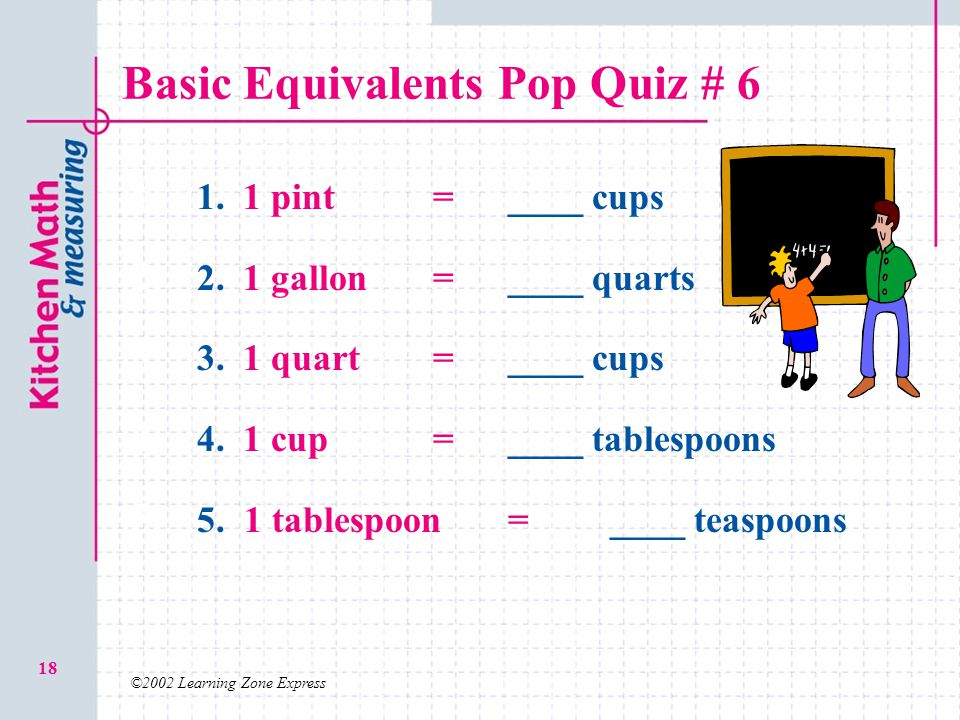 ©2002 Learning Zone Express 18 Basic Equivalents Pop Quiz # 6 1. 1. 1 pint=____ cups 2. 2. 1 gallon = ____ quarts 3. 3. 1 quart =____ cups 4. 4. 1 cup