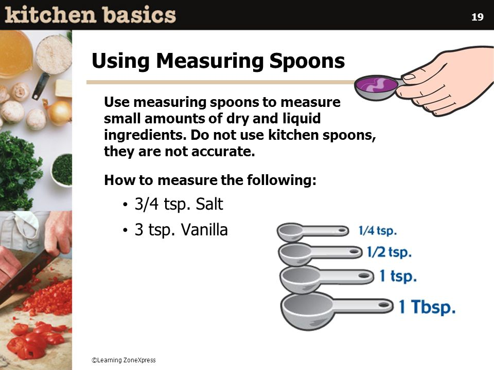 ©Learning ZoneXpress 19 Using Measuring Spoons Use measuring spoons to measure small amounts of dry and liquid ingredients. Do not use kitchen spoons,