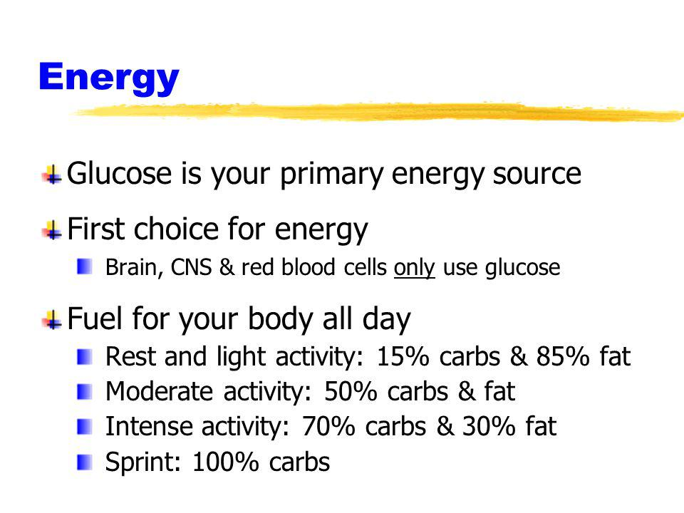 Energy Glucose is your primary energy source First choice for energy Brain, CNS & red blood cells only use glucose Fuel for your body all day Rest and