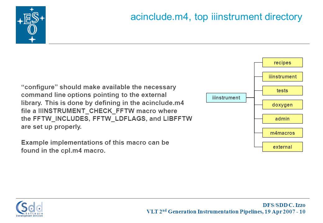 DFS/SDD C. Izzo VLT 2 nd Generation Instrumentation Pipelines, 19 Apr 2007 - 10 iiinstrument admin doxygen iiinstrument m4macros recipes tests externa