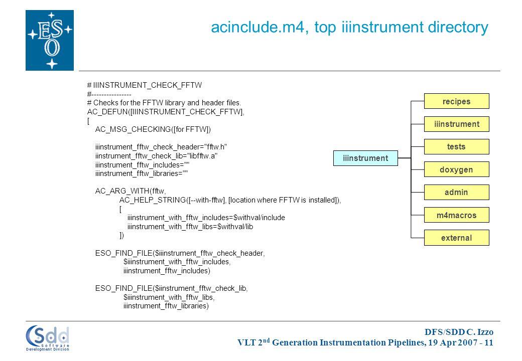 DFS/SDD C. Izzo VLT 2 nd Generation Instrumentation Pipelines, 19 Apr 2007 - 11 iiinstrument admin doxygen iiinstrument m4macros recipes tests externa