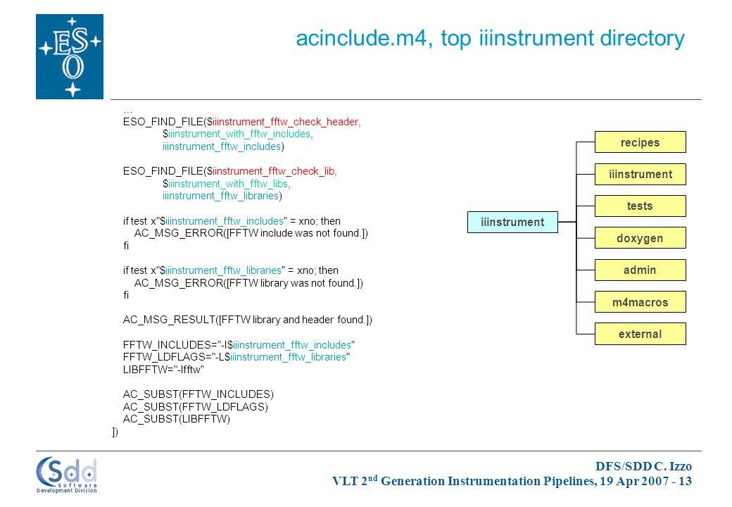 DFS/SDD C. Izzo VLT 2 nd Generation Instrumentation Pipelines, 19 Apr 2007 - 13 iiinstrument admin doxygen iiinstrument m4macros recipes tests externa
