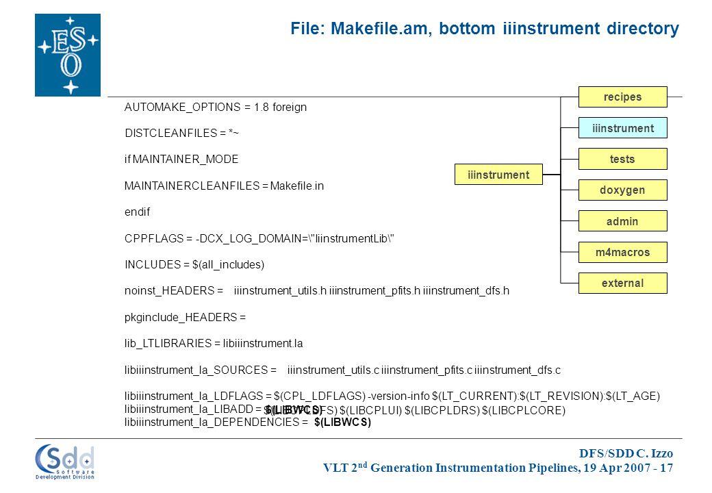 DFS/SDD C. Izzo VLT 2 nd Generation Instrumentation Pipelines, 19 Apr 2007 - 17 File: Makefile.am, bottom iiinstrument directory iiinstrument admin do