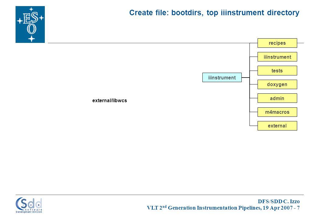 DFS/SDD C. Izzo VLT 2 nd Generation Instrumentation Pipelines, 19 Apr 2007 - 7 Create file: bootdirs, top iiinstrument directory iiinstrument admin do