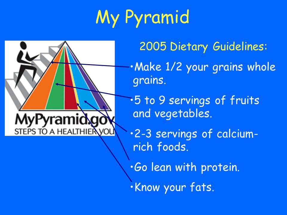 2005 Dietary Guidelines: Make 1/2 your grains whole grains. 5 to 9 servings of fruits and vegetables. 2-3 servings of calcium- rich foods. Go lean wit