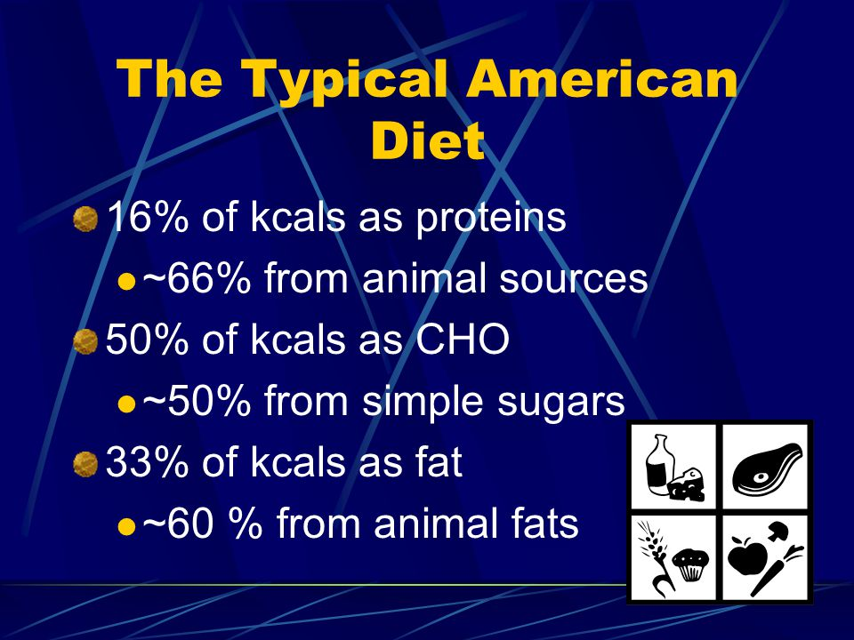 The Typical American Diet 16% of kcals as proteins ~66% from animal sources 50% of kcals as CHO ~50% from simple sugars 33% of kcals as fat ~60 % from animal fats