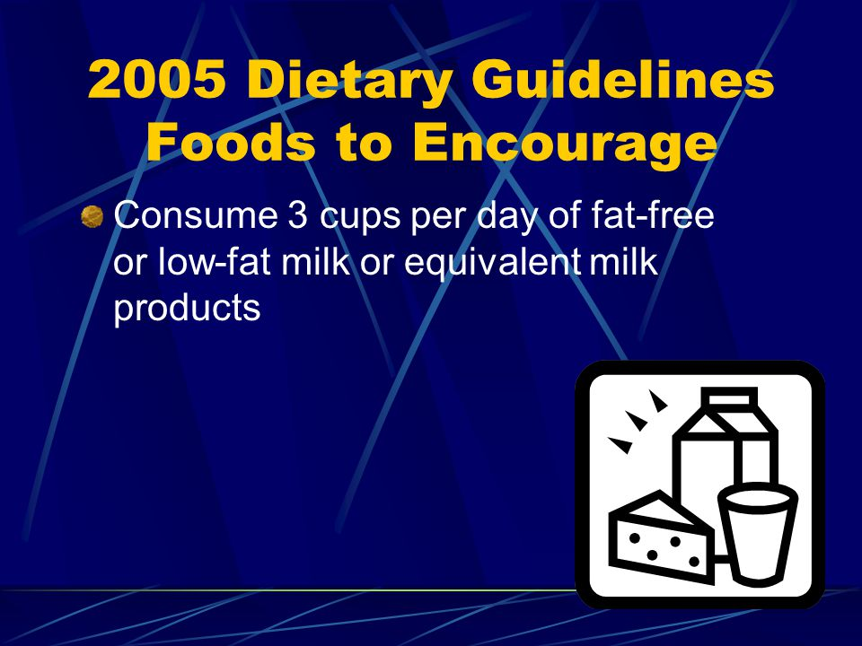 2005 Dietary Guidelines Foods to Encourage Consume 3 cups per day of fat-free or low-fat milk or equivalent milk products