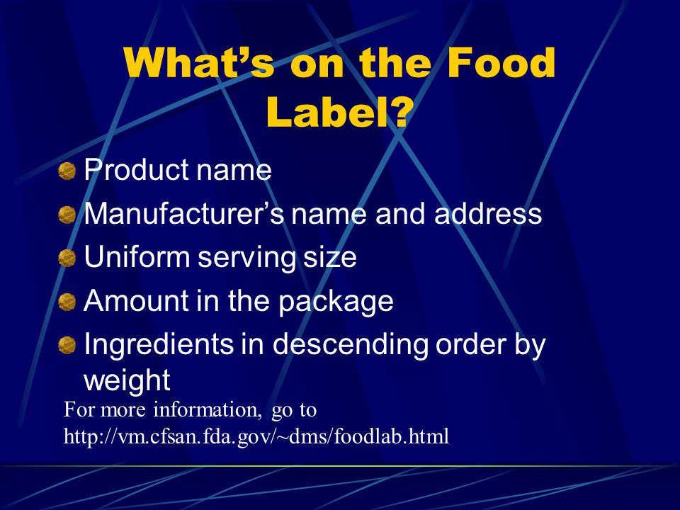 Whats on the Food Label.