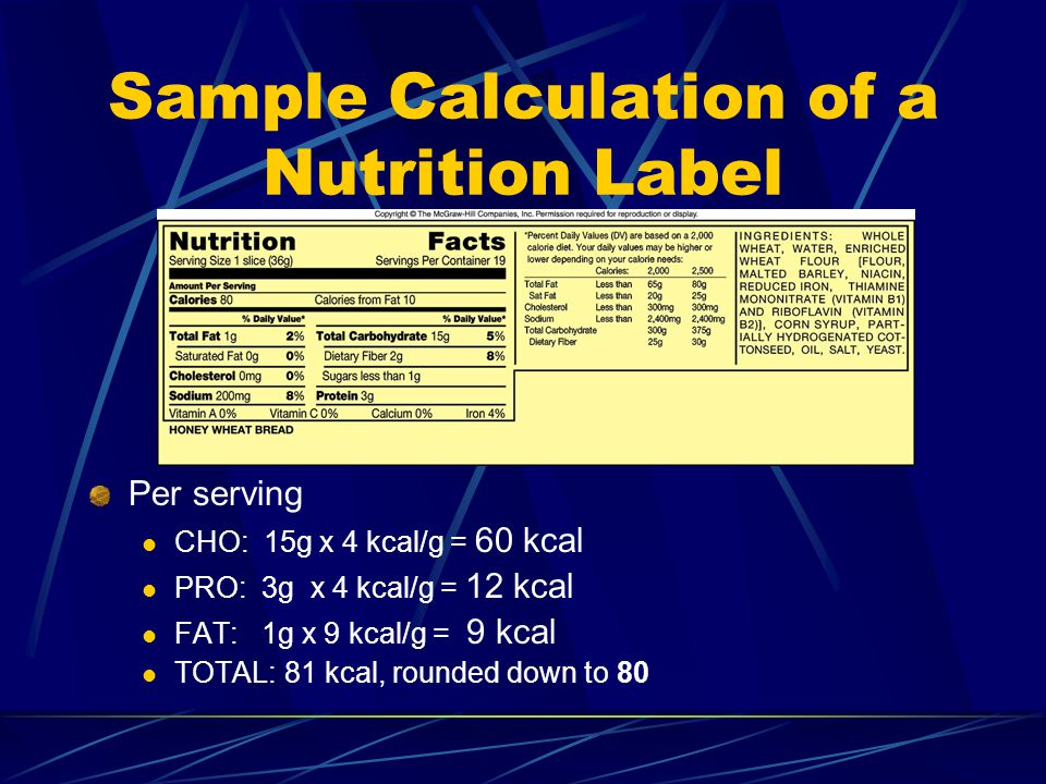 Sample Calculation of a Nutrition Label Per serving CHO: 15g x 4 kcal/g = 60 kcal PRO: 3g x 4 kcal/g = 12 kcal FAT: 1g x 9 kcal/g = 9 kcal TOTAL: 81 kcal, rounded down to 80