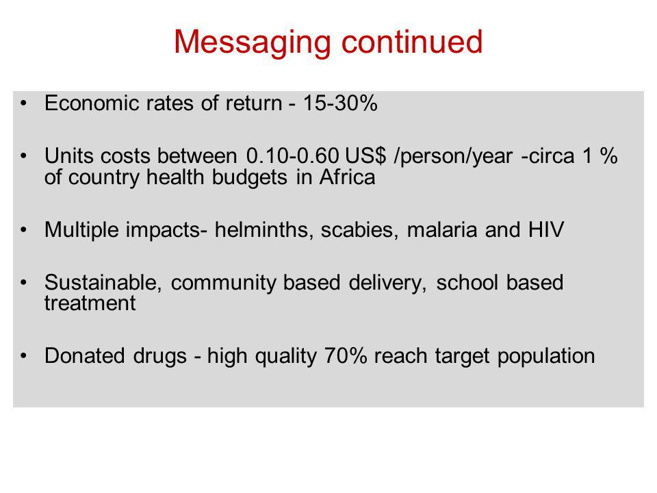 Economic rates of return - 15-30% Units costs between 0.10-0.60 US$ /person/year -circa 1 % of country health budgets in Africa Multiple impacts- helminths, scabies, malaria and HIV Sustainable, community based delivery, school based treatment Donated drugs - high quality 70% reach target population Messaging continued