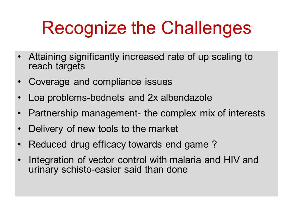 Recognize the Challenges Attaining significantly increased rate of up scaling to reach targets Coverage and compliance issues Loa problems-bednets and 2x albendazole Partnership management- the complex mix of interests Delivery of new tools to the market Reduced drug efficacy towards end game .