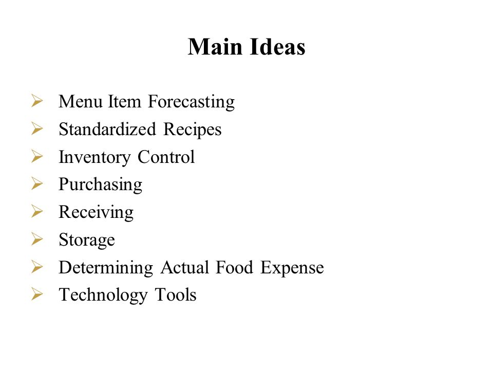 Menu Item Forecasting Menu item forecasting addresses the questions: How many people will I serve today.