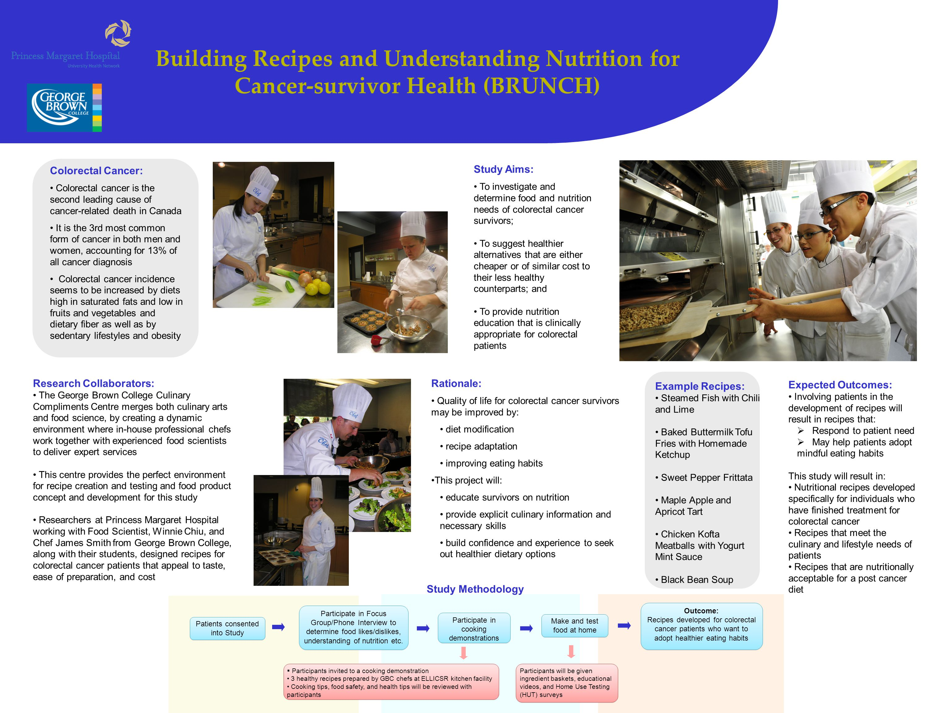 Building Recipes and Understanding Nutrition for Cancer-survivor Health (BRUNCH) Study Aims: To investigate and determine food and nutrition needs of colorectal cancer survivors; To suggest healthier alternatives that are either cheaper or of similar cost to their less healthy counterparts; and To provide nutrition education that is clinically appropriate for colorectal patients Patients consented into Study Participate in Focus Group/Phone Interview to determine food likes/dislikes, understanding of nutrition etc.