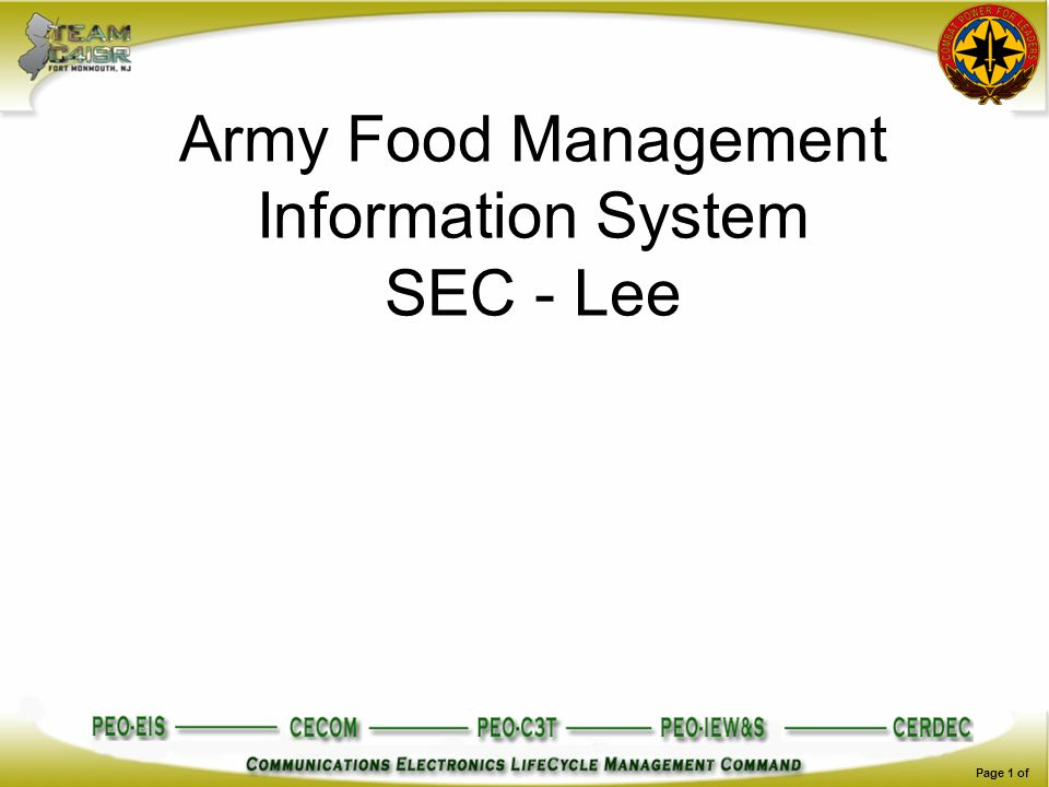 Page 1 of Army Food Management Information System SEC - Lee