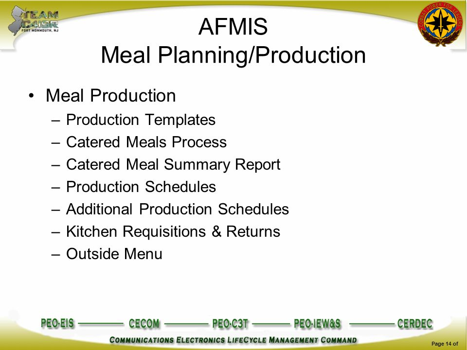 AFMIS Meal Planning/Production Meal Production –Production Templates –Catered Meals Process –Catered Meal Summary Report –Production Schedules –Additi
